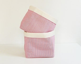 Holiday Storage Fabric Organizers in Red & White Candy Cane Stripe - Home Storage - Gift Basket - Hostess Gift - Set of 2