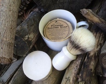 Old-Fashioned Coconut Oil Shaving Soap - Bar Puck or Shaving Set - For Guys or Ladies