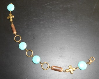 Turquoise and Cross Bracelet