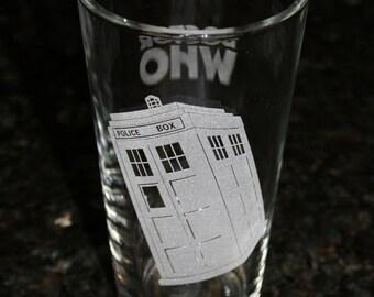 Dr. Who Tardis Pint Glass