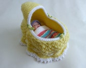 Yellow cradle bag with 5 inch doll | converts to drawstring bag | little girls playset toy | handknitted dolly bed