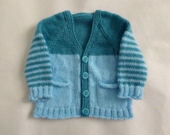 Baby knitwear, teal baby cardigan, hand knitted aqua blue striped sweater to 4 months, baby boy sweater, baby shower gift, knit baby clothes
