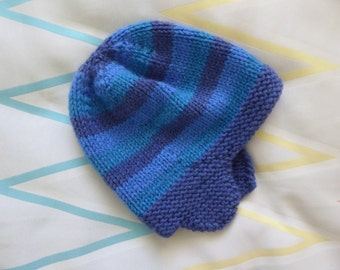 Child's wool blend earflap hat | hand knitted winter hat | 3 - 5 years child | navy, green, blue