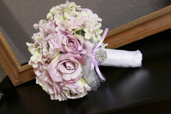 Lilac Lavander Bridal Bouquet, Wedding Fabric Bouquet,Rhinestone Embellishment, Vintage Wedding, Lilac Roses Green Hydrangea, English Garden