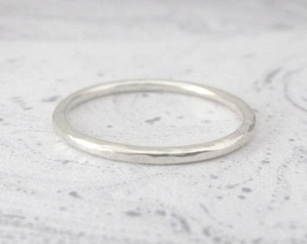 Sterling Silver Ring - Hammered - 1.5mm Band