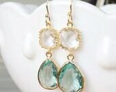 Sea Green Earrings in Gold - Aqua Green and Clear Bridesmaids Earrings - Seafoam Mint Earrings - Wedding, Bridal, Prasiolite Green Amethyst