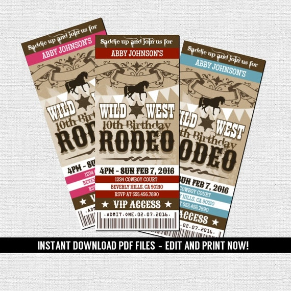 Western Rodeo Ticket Invitation Birthday Party Cowboy Cowgirl