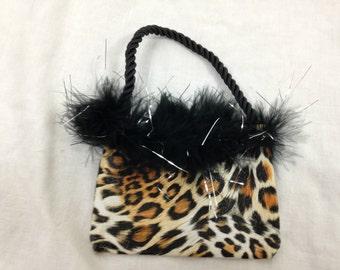 cheetah fuzzy furry mini purse