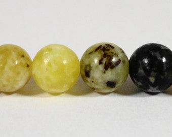 "Serpentine Gemstone Beads 6mm Round Green-Yellow Turquoise Beads, Natural Black and Yellow Stone Beads on a 7 1/2"" Strand with 31 Beads"