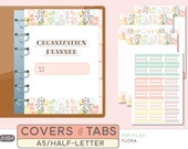 A5 COVERSHEET and TABS SET  - Printable Planner Inserts - Flora Theme - 5 sheets
