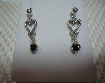 Heart Cut Blue Sapphire Dangle Earrings in Sterling Silver  1800
