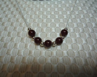 Garnet and Sterling Silver Necklace   1808