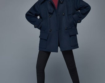 navy blue coat, mini coat, warm coat, winter coat, double breasted coat, short wool coat C971