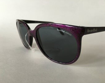 NEW BOLLE ACRYLEX 396 Purple w/ Black Pattern Frame Gray Lenses Sunglasses.  Some dust from being stored. vintage 1980's