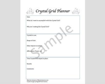 Crystal Grid Digital Planning Sheet Crystal Healing