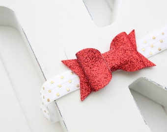 Glitter bow headband- Red glitter- Baby girl headband- Toddler headband- headband- Hair accessory- headband-Glitter bow- Photo prop-
