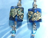 Royal Blue Floral  Lamp Work Earrings & Dragonfly