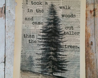 I Took A Walk In The Woods And Came Out Taller Than the Trees Dictionary Art Print / Tree Print / Book Print / Upcycled / Quote Print