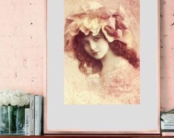 Vintage image altered art,Charming Girl,pink,vintage art,vintage photo,Image Instant Download.
