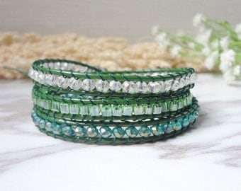 3 Wrap Green White  Beaded  Simulated Leather Bracelet