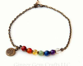 Chakra anklet, chakra jewelry, rainbow anklet, pride anklet, lotus anklet, chakra stones , seven chakras