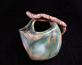 ChingWenArts Studio Pottery Stoneware Handmade Pot Vase, Patina Green and Brown, Signed, E056