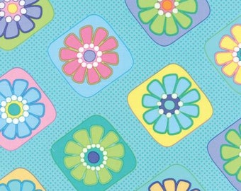 Moda-Grow by Me & MY Sister Designs Floral Tiles in Truly Turquoise 22272-12