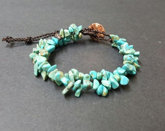 Double  Chain  Chip Turquoise  Bracelet