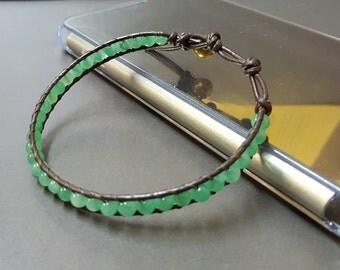Jade  Leather Bracelet