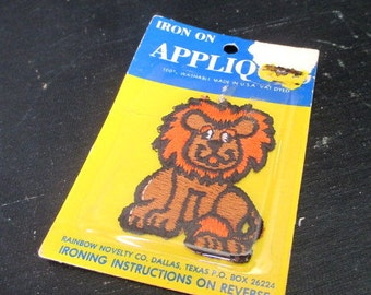 Vintage Applique Lion Cute  Iron On NOS New in Package Rainbow Novelty Sewing Crafts  Embellishment Safari Animal