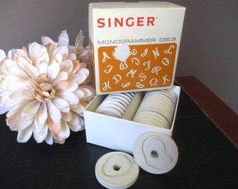 Vintage Singer Monogrammer Discs  171288 Monogram Disks 1970's    Sewing Machine Supply Letters Missing Letter D