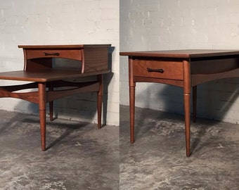 Mid-Century Modern End Table Pair W/Drawers / Nightstand - Mad Men / Eames Era Decor *SHIPPING NOT INCLUDED*