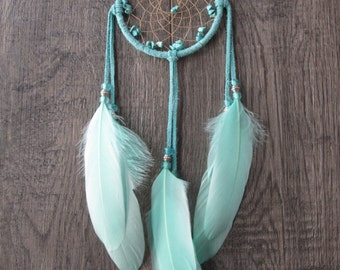 Dream Catcher Turquoise Suede Lacing with Goose Feathers