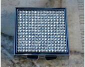 Silver Metal Swarovski Elements Crystal AB Aurora Borealis Rhinestone Bling Square 4 Compartment Pill Medication Box Case Holder