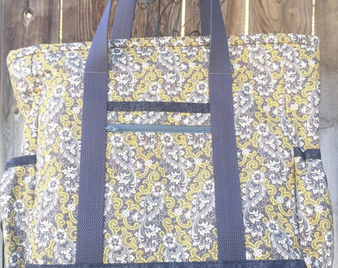 SALE Tote Bag with Pockets, Tote Bag with Zipper, Teacher Tote, Nurse Bag, Diaper Bag, Work Tote, Professional Tote, Yellow and Grey Teacher