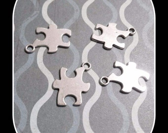 Puzzle Piece Charms Antiqued Silver Metal Stamping Blanks Puzzle Pendants Wholesale Charms BULK Autism Awareness 50 pieces
