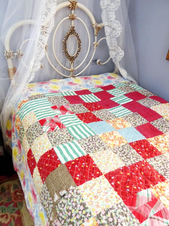 Vintage Quilt Multi Color Red Patchwork Some Damaged Areas