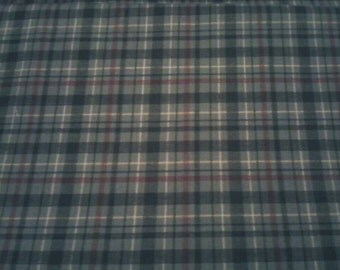 Plaid cotton/blend fabric - Green, Brown, & White