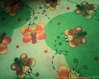 """Green Butterflies Fabric 44"""" wide"""