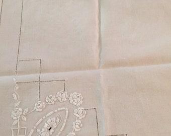 Cream on cream vintage tablecloth