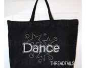 Dance bag, glitter and rhinestone zipper top black tote.  Bling gift idea, recital, dancing event luggage, overnight travel, gym carryall.