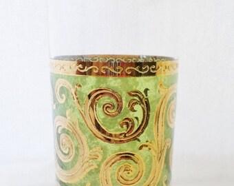 ON SALE Vintage, Culver,Toledo Pattern, Glass, Baroque, Green, Gold, 1960'S, Barware, Glassware, 22K Gold, Culver Ltd Glass, Mid Century