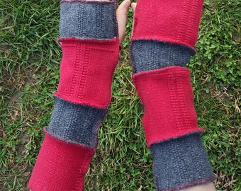 Red & Gray Upcycled Sweater Armwarmers OOAK Renaissance Festival Boho Fingerless Rustic