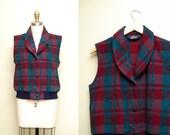 Vintage Woolrich Plaid Vest / 80s Wool Vest / Rugged Women's Outerwear / Size Medium