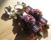 Purple & Pink Kashmiri Bead w/ Purple and Brass Glass Beaded Clip on Earrings