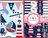 Nautic,sea,anchor,Digital papers,, 6 papers+clipart png ,paper pack,child ,instant download