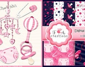 Baby,girl,Digital papers,+ 6 cliparts png ,paper pack,child ,instant download