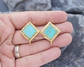 earrings connector turquoise post stud square gold plated setting 28mm blank Bezel with loop bail hoop on bottom ST1