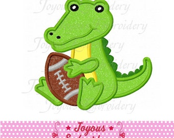 Instant Download Alligator With Football Applique Machine Embroidery Design NO:2068