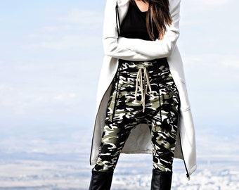 NEW Fall Loose Casual Drop Crotch Harem Pants / Extravagant Military Pants/ Side zipper pockets Camouflage pants by AAKASHA A05313